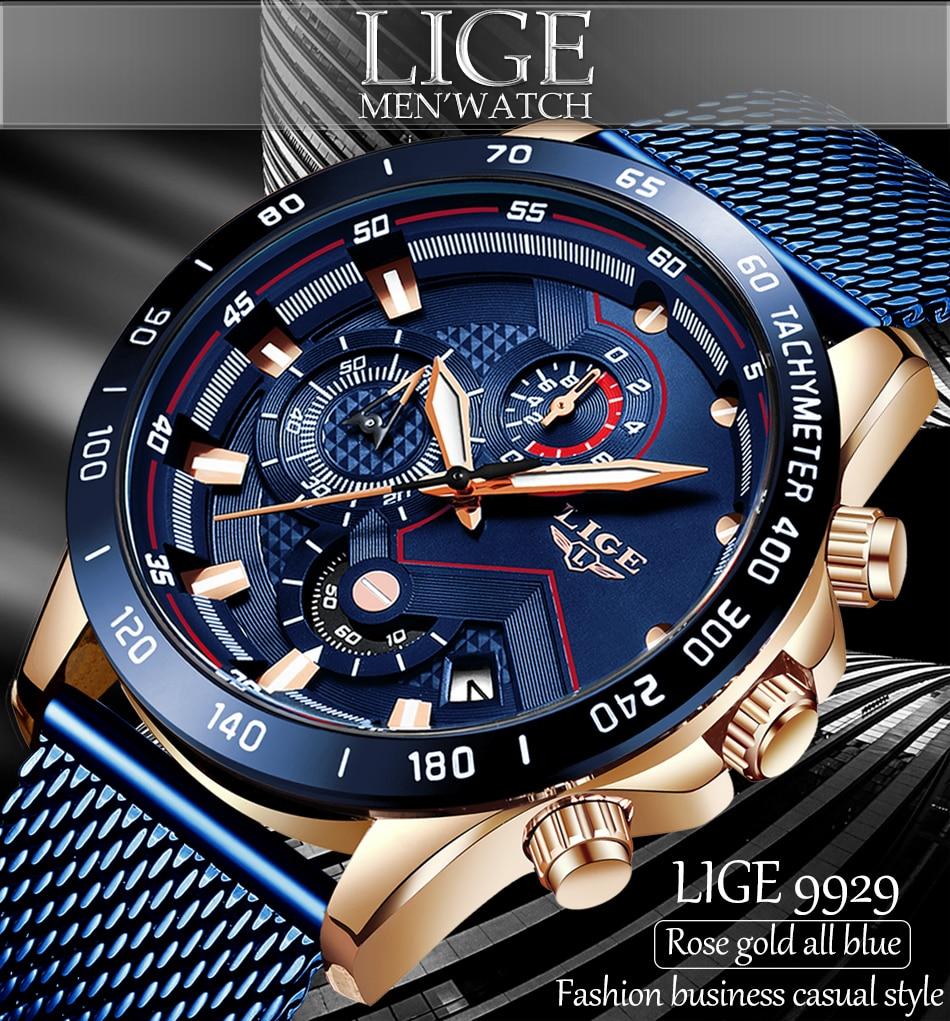H1547228592a642e9898cf18a35a6ffaeQ 2019 New LIGE Blue Casual Mesh Belt Fashion Quartz Gold Watch Mens Watches Top Brand Luxury Waterproof Clock Relogio Masculino
