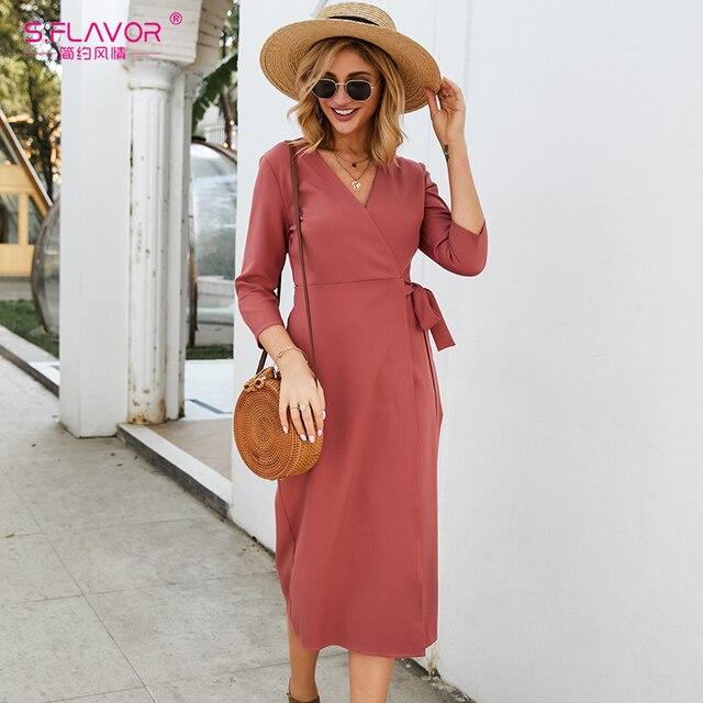 S. טעם נשים סתיו עיפרון שמלה אלגנטית Slim V צוואר תה לשבור Midi שמלה אדום צבע חורף עבודה שמלת עבור משרד ליידי