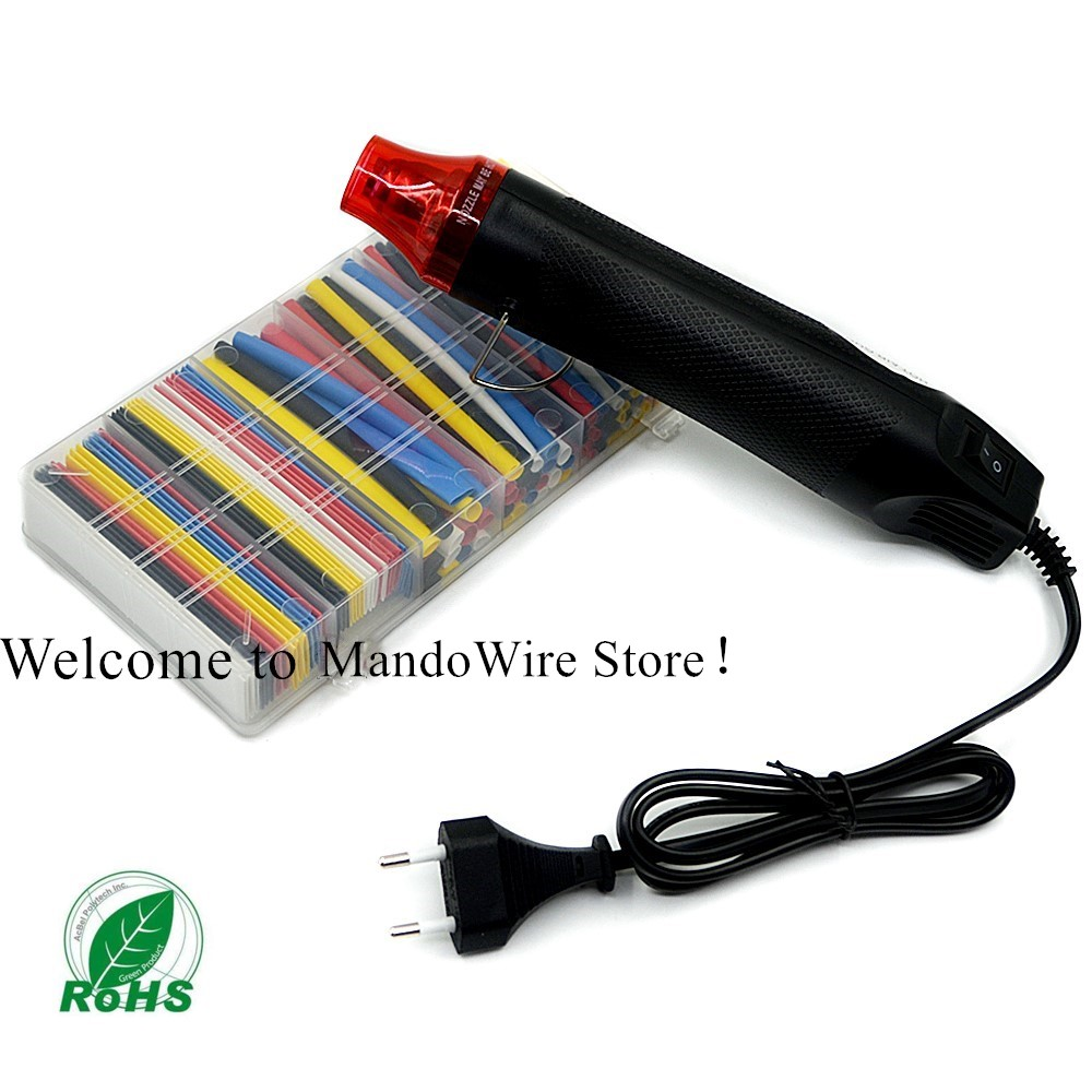 MINI Heat Gun and Polyolefin Heat Shrink Tube Assorted Insulation Shrinkable Tube 2 1 Wire Cable Sleeve Kit can Drop shopping