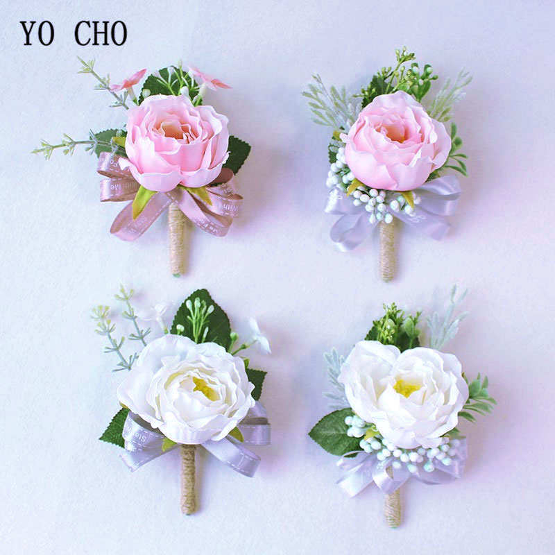Rose Boutonniere Men Wedding Corsage Pin Flower Silk Ribbon Groom Boutonniere Buttonhole Wedding Planner Marriage Corsage Flower