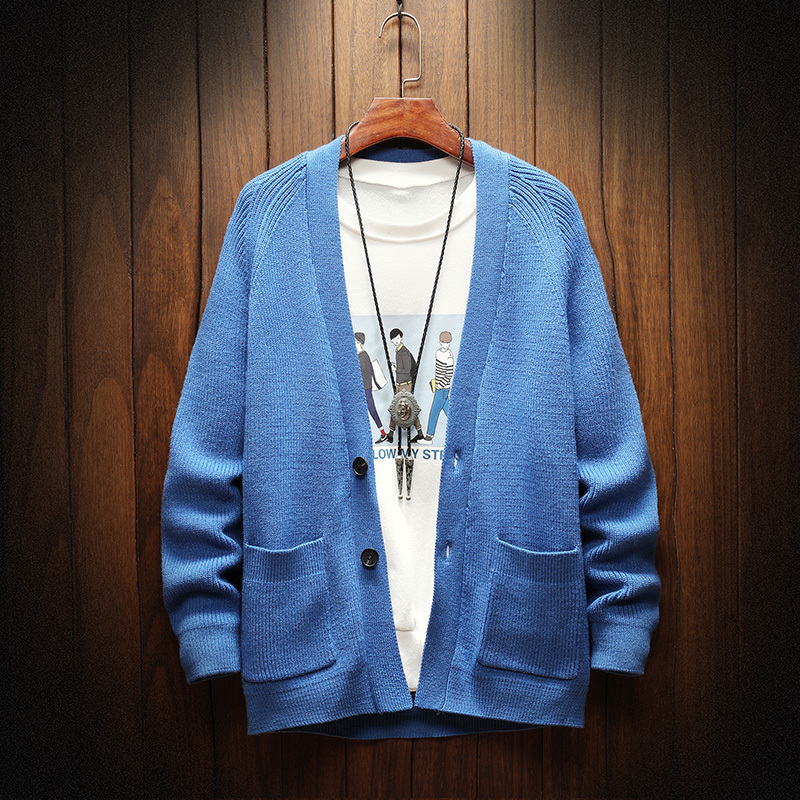 Winter Cardigan Men Fashion Solid Color Casual V-neck Knit Sweater Jacket Man Streetwear Wild Loose Sweter Male Clothes M-3XL