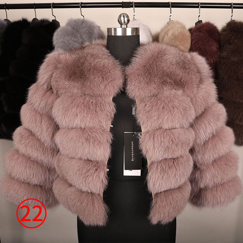 maomaokong 50CM Natural Real Fox Fur CoatWomen Winter natural fur Vest Jacket Fashion silm Outwear Real Fox Fur Vest Coat Fox 34