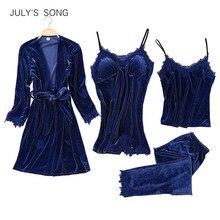 JULYS SONG Frauen Faux Silk Dressing Kleid 4 Stück Sexy Pyjamas Set Spitze Sling Shorts Sommer Robe Nachtwäsche
