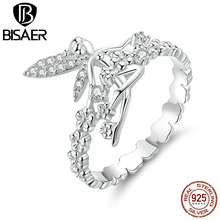 BISAER 925 Sterling Silver Flowers Fairy Rings for Girls Cubic Zircon Ring Party Jewelry GAR104