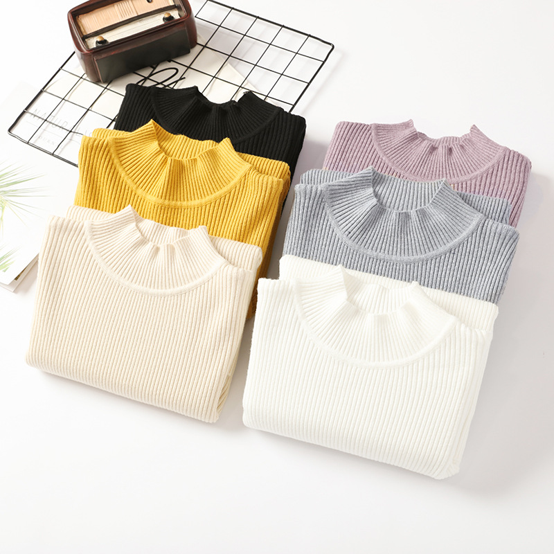 Simple Style Turtleneck Sweater Women's Unadorned Slim Solid Color Rib Knit Long Sleeve Bottoming Jumpers Pullover Female Spring