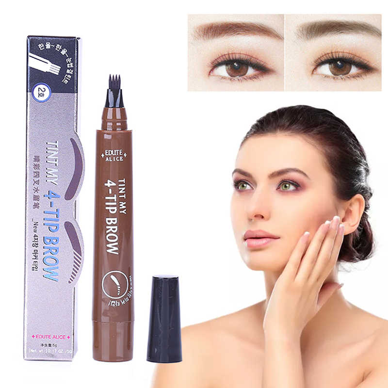 4 Head Fine Sketch Eyebrow Pencil Long Lasting Tattoo Eye Brow Pencil Black Brown Waterproof Smudge-proof Makeup Cosmetic TSLM2
