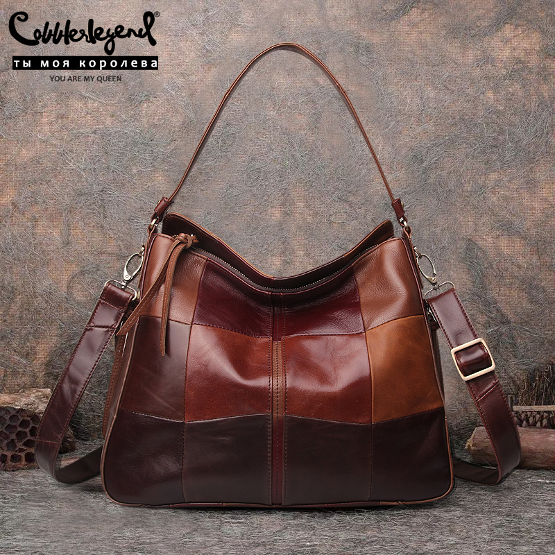 Cobbler Legend Women Bag Genuine Leather Ladies Bucket Bag  Pocket Casual Handbags Shoulder Crossbody Large Capacity Purse 2019