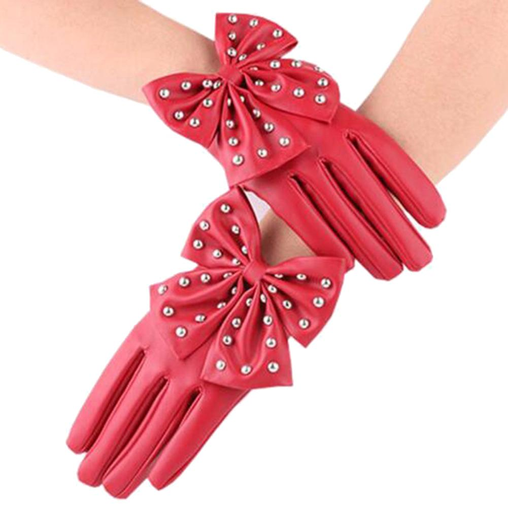 Oversized Bow Ladies Fashion Faux Leather Gloves Pu Stage Performance Gloves