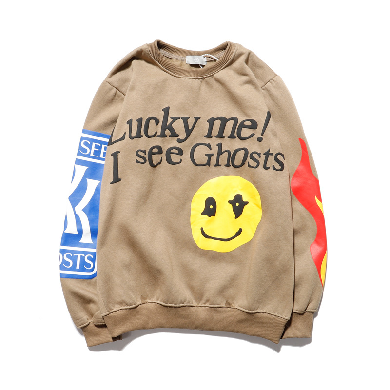 "Harajuku Kanye ""Lucky Me!""Smliey Pattern Sweatshirt Men and Women Hip Hop Stranger Things Fleece Hoodie Oversize Pullover Hoody"
