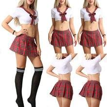 Маскарадный костюм, 3 предмета, сексуальная женская красная клетчатая школьная форма для девочек, нижнее белье, форма ученицы для косплея, костюм без чулок
