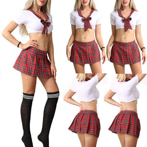 Trajes extravagantes 3Pcs Xadrez Vermelho das Mulheres Sexy Uniforme Da Menina Da Escola Uniforme Estudante Lingerie Cosplay Outfits Traje Sem Meia