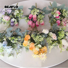 1 Bouquet Artificial Rose Flowers Bud Silk Fake Flower flores for DIY Home Garden Wedding Hotel Decoration