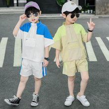 цена на New Children's Clothing Set for Boy Summer Cotton T-Shirt Shorts Sports Suit Set Two Pieces Clothes Baby Kids Casual Clothes Set