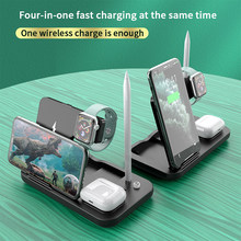 15w 4 em 1 rápido qi carregador sem fio para airpods pro doca estação titular do telefone carregador para iphone 12 pro max 11 para apple lápis