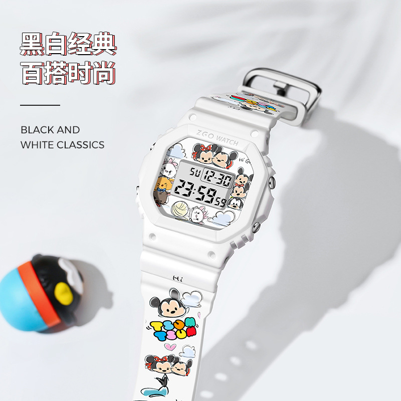 Disney Original +Square Watch Female Graffiti Simple Girl Junior High School Student Водонепроницаемый Спорт Электронные часы
