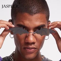 JASPEER Fashion Sunglasses Women Men Rimless Vintage Bat Shape Glasses Eyewear Luxury Brand Trending Sunglasses For Women