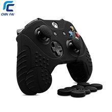 CHINFAI غطاء من السيليكون ل جهاز مايكروسوفت إكس بوكس وان المضادة للانزلاق جلد واقي ل Xbox One S ل Xbox one X مع الإبهام القبضات
