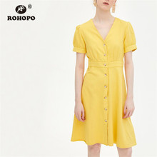 ROHOPO Autumn Women Solid Yellow Cotton Dress Buttons Fly Chic Ladies Holiday Flared Robe #66967 q23sn6rmhsqdp q23cn6rmhsqdp 66967 including accessories