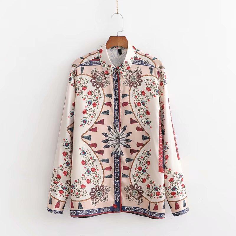 Women Vintage Flower Tassel Print Casual Business Blouse Office Lady Turn Down Collar Court Shirts Kimono Femininas Tops LS4368