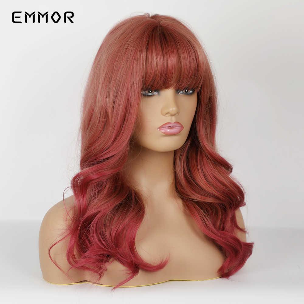 EMMOR Lange Natürliche Welle Rötlich Braun Synthetische Haar Perücken mit Pony Wein Red Heat Resistant Cosplay Partei Täglichen Perücke für frauen