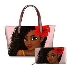 African Purses Brand Luxury Design Handbags Women Black Art Girl Printing  Hand Bag&Wallet Females Top-Handle Bags