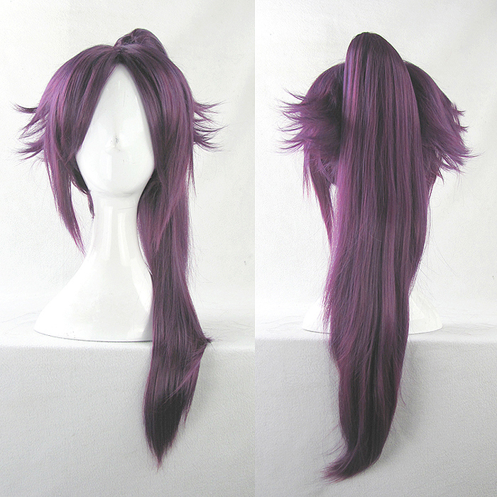 BLEACH Shihouin Yoruichi Cosplay Wigs High-temperature Fiber Synthetic Hair Base Wig Tiger Clip Purple Hair With Free Wig Net