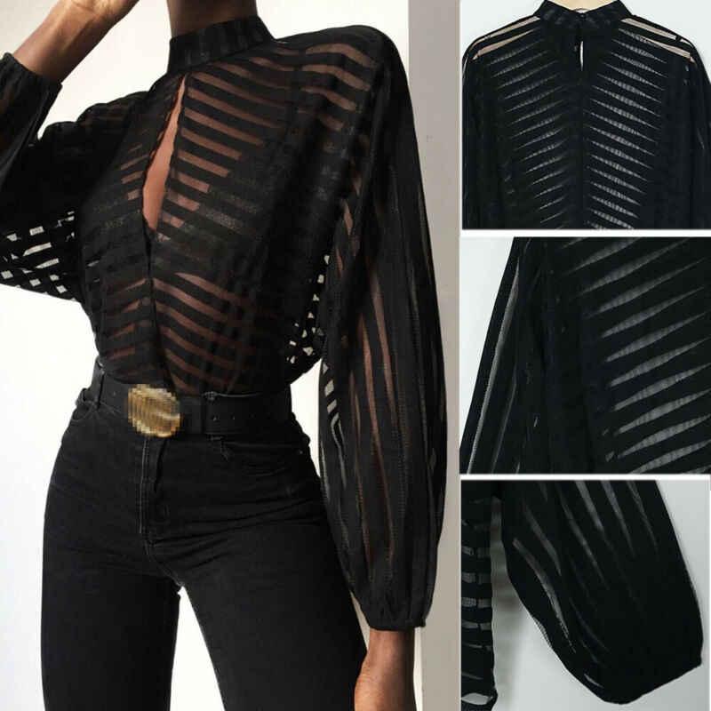 المرأة شبكة صافي بلوزة شير أكمام طويلة للسيدات قميص أسود الجبهة الجوف مثير القمم المرأة الملابس الصيف الإناث البلوزات الساخن