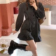 Ins vintage sukienka jeansowa wiosna luźny, z klapami pojedyncze piersi dziewczyna lotosu spódnica