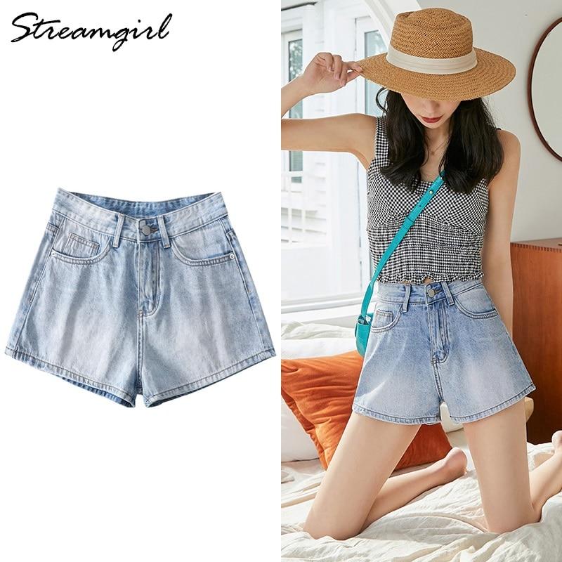 Streangirl Denim Shorts For Women Summer Casual Loose Denim Light Blue Cotton High Waist Short Jeans Shorts Woman Sexy Summer