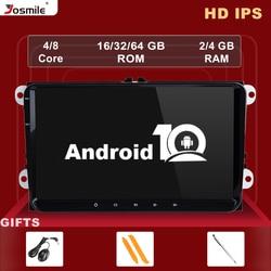 Автомагнитола 2 Din на Android 10, 4 Гб, GPS-навигация для VW Passat B6 T5 amarok volkswagen Skoda Octavia 2seat leon 2 golf 5 мультимедиа