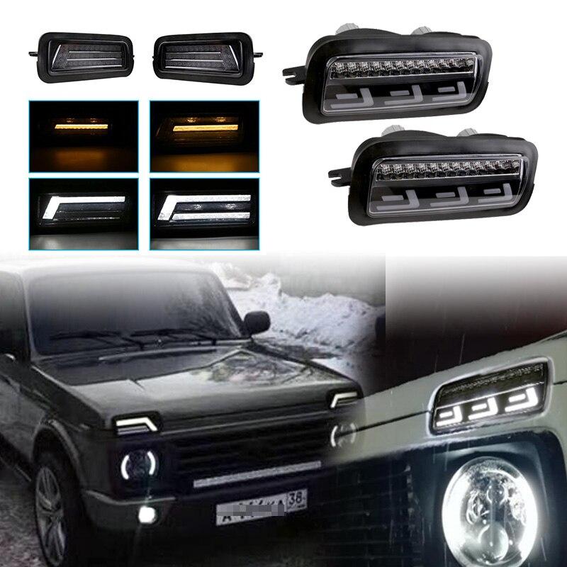 Paire daccessoires de style pour voiture, feux de jour, pour Lada Niva, Urban LED +, avec clignotant, lampe DRL, 1995