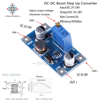 SX1308 DC-DC Step UP Power Supply Module 2A Boost Volt Converter Power Supply Adjustable 2V-24V To 3V 5V 6V 9V 12V 19V image