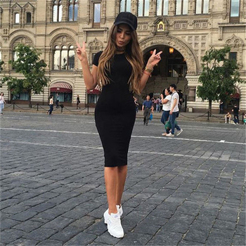 Women's Summer Short Sleeve Slim Skinny Dress Round Neck Casual Pencil Dress 5 Colors Casual T Shirt Wrap Dresses Female image