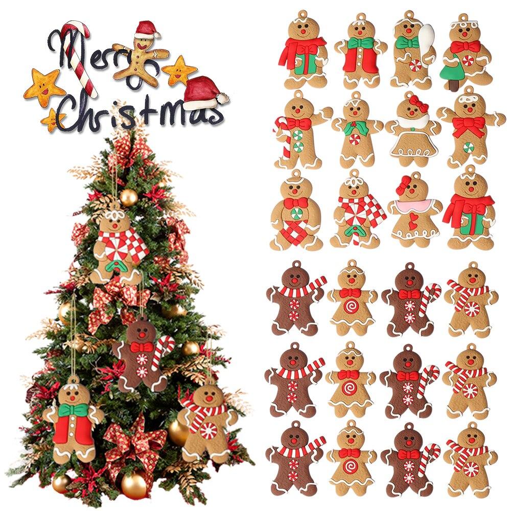 12Pcs Lebkuchen Mann Weihnachten Baum Hängen Anhänger Weihnachten Baum Dekor Ornament 2021 2022 Neueste Schnelle Verschiffen Nette Lustige Kid geschenk