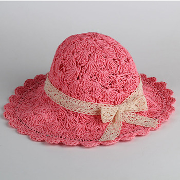 Handmade Lace-up Large Brimmed Bow Straw Hat Sun Hat Children Summer New Style Hat multi brimmed sinamay hat
