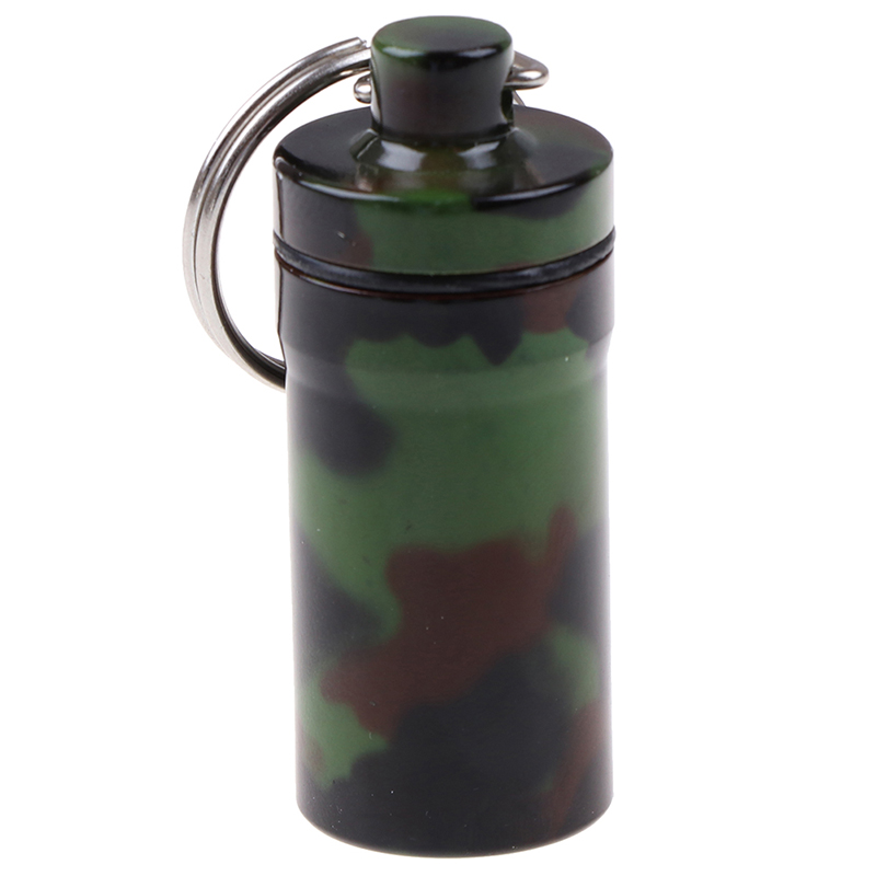 1pcs WaterProof Mini Camouflage Aluminium Pill Box Case Cache Container Key Rings Keychain Holder Vial Portable