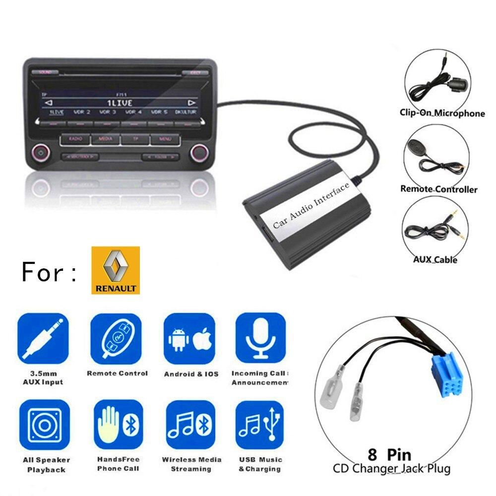 Doxingye usb aux bluetooth rádio do carro digital cd changer adaptador mp3 leitor de música handsfree para renault clio mestre modus dayton