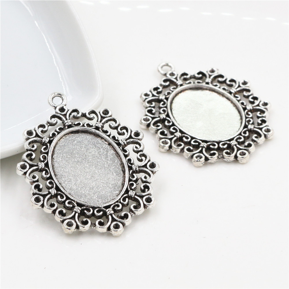 2pcs 18x25mm Inner Size Antique Silver Plated Cameo Cabochon Base Setting Charms Pendant Necklace Findings  (C1-38)