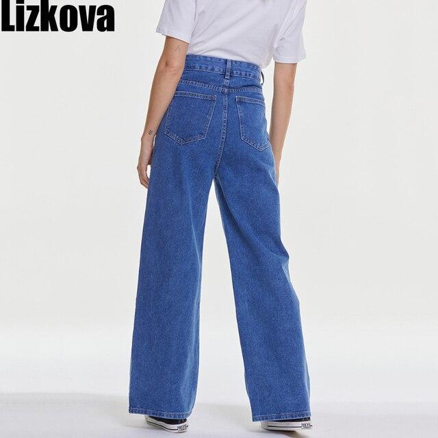 Lizkova Spring Blue Jeans Women High Waist Overlength Denim Mujer Pantalones 2021 Fashion Wide Leg Korean Style Trousers 6