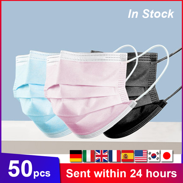 Fast Delivery 50pcs Black Mouth Mask 3-Layers Anti-fog Dust Face Masks Fabric Dustproof Cotton Disposable Non-woven Mouth Cover