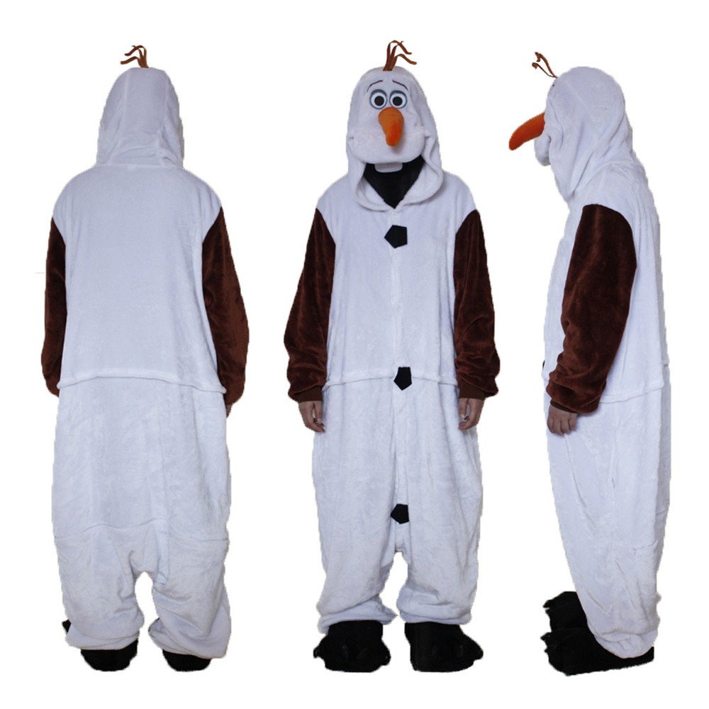 Adult Anime Olaf Onesie Princess White Snowman Princess Cosplay Pajamas Halloween Party Costumes Jumpsuits Costumes