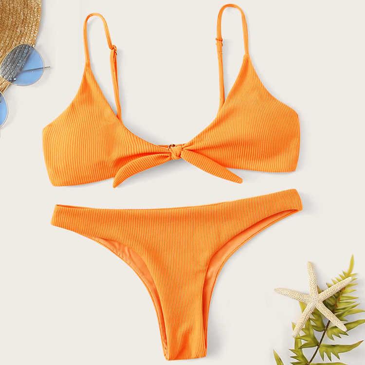 セクシーなリブ水着女性バンドービキニセット 2020 紫色の水着女性水着海水浴水着スーツ新