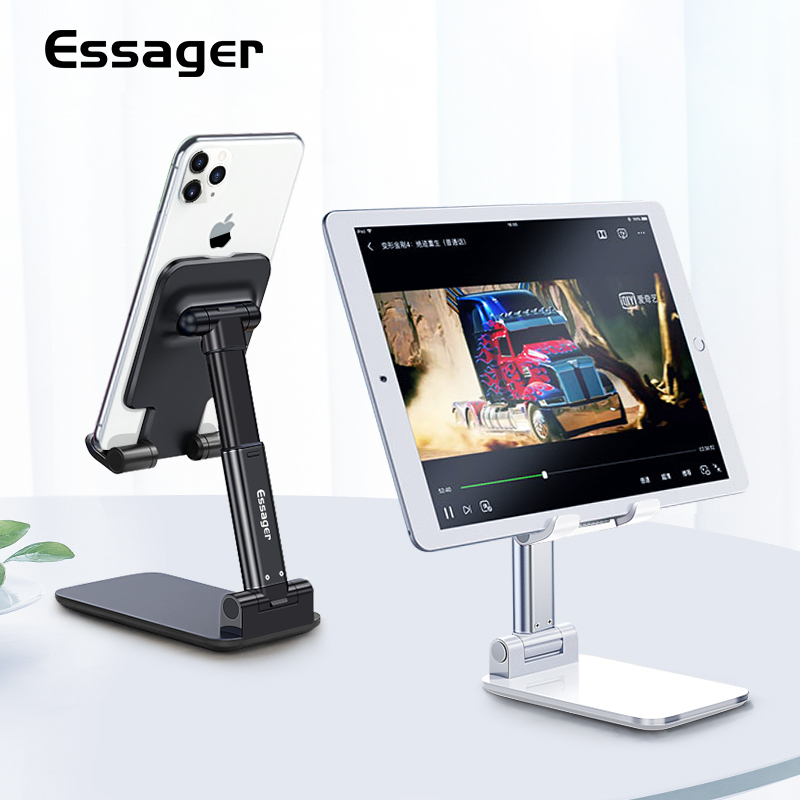 Essager Desk Mobile Phone Holder Stand For IPhone IPad Adjustable Metal Desktop Tablet Holder Universal Table Cell Phone Stand