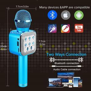 Image 5 - 4in 1 LED أضواء يده كاريوكي محمول ميكروفون المنزل KTV لاعب مع وظيفة سجل متوافق مع أجهزة أندرويد و iOS