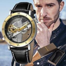 2019 luksusowe Hollow mężczyźni 3 ATM wodoodporny automatyczne Winding mechaniczne ruch biznes skórzany mechaniczny zegarek z pudełkiem