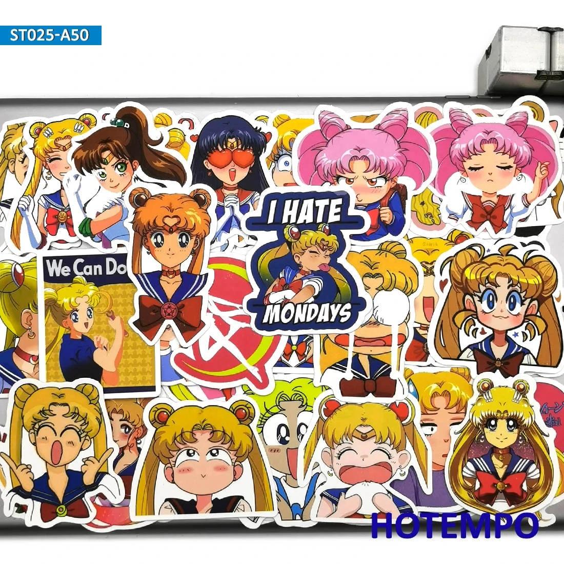 50PCS  Anime Cartoon  Vintage Girls Mens Decals Funny Stickers Guitar Laptop