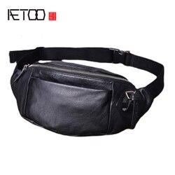 Bolso de mujer de moda AETOO, bolso de aguja de cuero, cabeza de piel bolso de hombro Retro