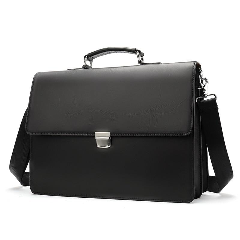 Business Man Bag Leather Genuine Mens Briefcase Leather Bag Men Vintage Shoulder Laptop Bags For Mens Briefcase Men Handbag 8582