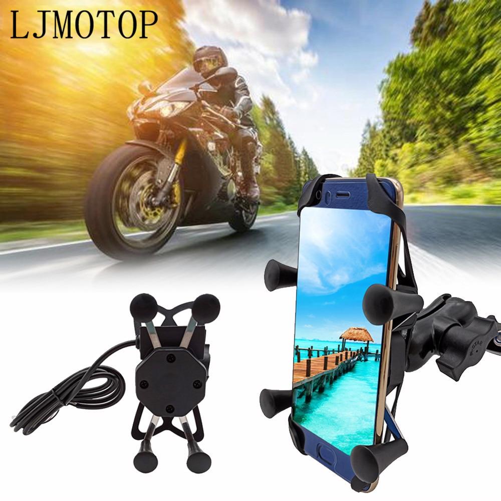 Metal Motorcycle Phone Bracket Handlebar Holder With USB Any Smartphone For KAWASAKI KX65 KX85 KX125 KX250 KX250F KX450F KX100