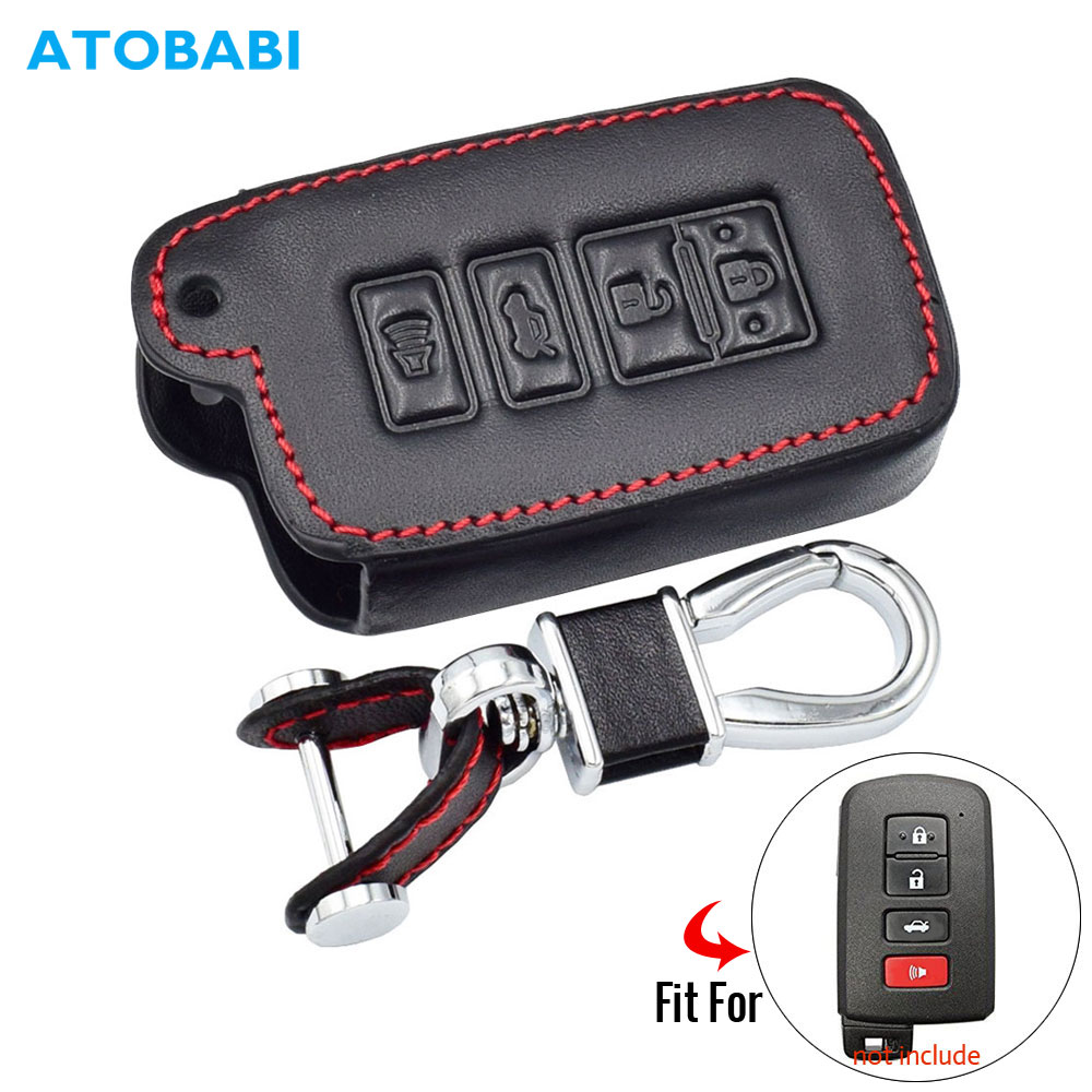 Leather Car Key Case For Toyota Highlander RAV4 Camry Avalon Corolla 4 Buttons Remote Fob Cover Holder Protector Keychain Bag